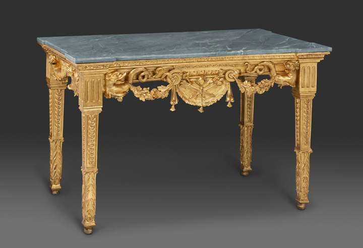 A north Italian  neoclassical giltwood console with grey marble top, Genoa, last quarter XVIII c.
